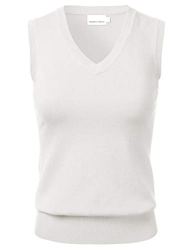 Women's Solid Classic V-Neck Sleeveless Pullover Sweater Vest Top Ivory M