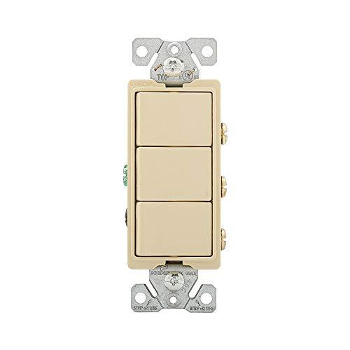 Eaton 7729V-SP 15-Amp 3-Way 120-Volt Decorator Heavy Duty Grade Three Single-Pole Combination Switches, Ivory