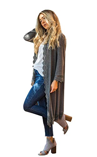 3/4 Sleeve Lace Trim Cardigan (Charcoal, Large) - Lace Trim Sweater