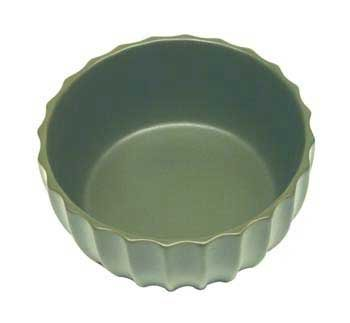 VO FLUTED CERAMIC BOWL 7 GRN