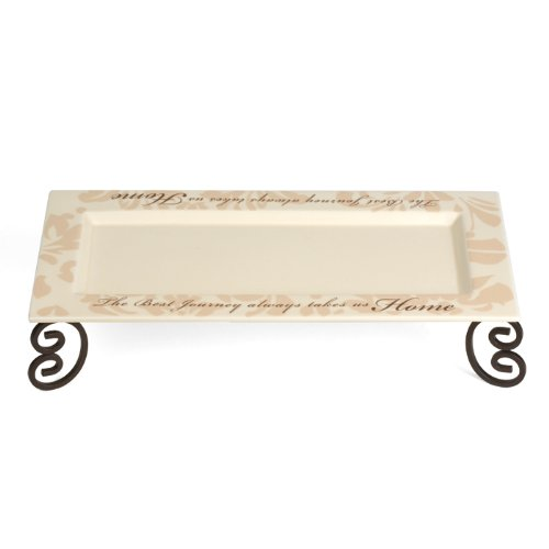 Simply Stated by Pavilion 12 by 5 by 2-1/2-Inch Candle Tray with Metal Scroll Stand, Best Journey Sentiment (Pedestal Scroll)