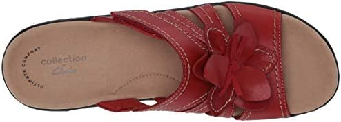 Clarks Women's Lexi Opal Sandal, Red Leather, 075 M US