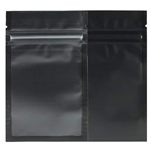 "QQ Studio Pack of 100 Translucent Front Matte Black Poly Plastic Resealable Bags (2.8oz (5"" x 7""), Black Flat Pouch | 200 Bags)"