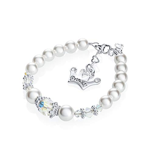 (Luxury White Swarovski Simulated Pearls and Clear Crystals with Sterling Silver Princess Crown Charm Infant Girl Bracelet (B124_S))