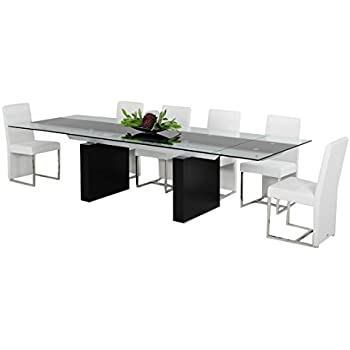 Amazoncom Limari Home The Lamia Collection Modern Glass Top MDF - Glass top extendable dining room table