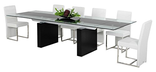 Limari Home The Lamia Collection Modern Glass Top MDF Wood and Stainless Steel Metal Contemporary Extendable Dining Room Table, Wenge (Lisbon Dining)