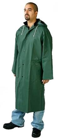 Diamond 1763 PVC Coated Nylon Titan Industrial Waterproof Long Coat with Hood, 2X-Large, Green