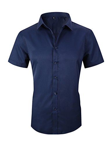 Cotton Shirt Men Business Casual - Taobian Mens Casual Business Short Sleeve Button Down Dress Shirt Slim Fit Cotton Shirts 1# Dark Blue US Large(Asian Tag 4X-Large)