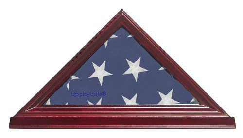 3X5-Flag-Display-Case-Box-Frame-NOT-for-Memorial-or-Funeral-Flag-SOLID-WOOD-Cherry-Finish-FC35-CH