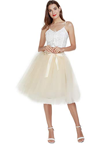 Women's High Waist Pleated Princess A Line Midi/Knee Length Tutu Tulle Skirt for Prom Party (Free Size, Beige)