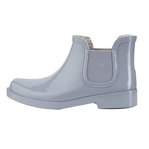 for Anti Rain Rain Outdoors for Slip Rubber Color Women Shoes Solid Wet Short Adult Boots Gray Waterproof Weather qqwxvrnCO