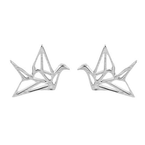 (925 Sterling Silver Jewelry Cute Origami Cranes Animal Stud Earring for Women Girl Peace Dove Earring)
