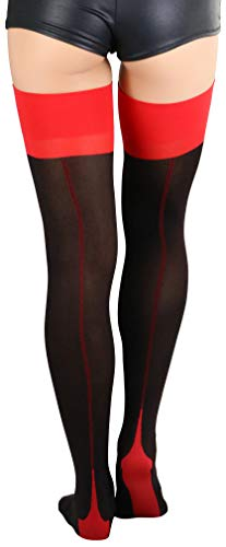 ToBeInStyle Lycra Two Toned Cuban Heel Stocking - Black/Red - OS