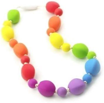 Silicone Nursing//Sensory Jewellery Chew Necklace Rainbow Colours