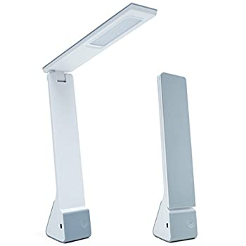 EXCANDO LED Desk Lamp, Eye-caring Table Lamp, Portable Desk Lamp with Built-in Battery and USB Charging Port, 3 Color Modes by Touch Control, Silver