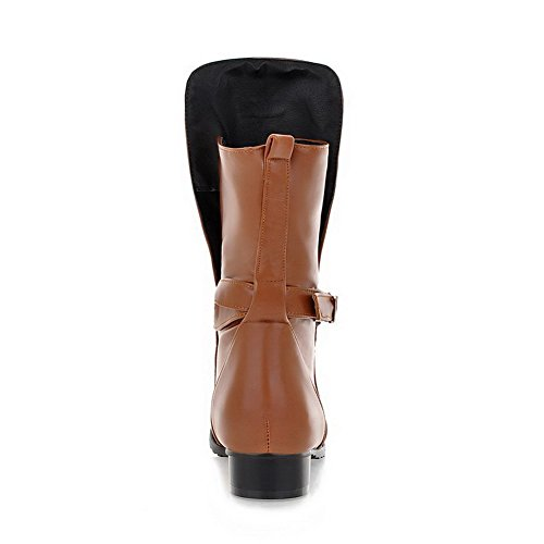 AmoonyFashion Womens Round Closed Toe Low-Top Low Heels Solid PU Boots, Brown, 34