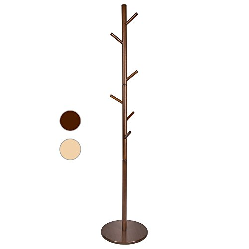 LCH Free Standing 7-Hooks Solid Wood Coat Rack Hall Tree with Round Base Diameter of 20'', Rod Diameter 2'' (Freestanding Solid Wood)