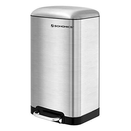 SONGMICS 10.6 Gallon Step Trash Can, 40 L Garbage Bin, Fingerprint Proof Stainless Steel with Plastic Inner Bucket, Slow Close, ULTB01NL by SONGMICS