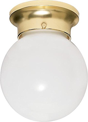 Nuvo Lighting SF77/109 One Light Close-to-Ceiling Flush Mount, Polished Brass/White Glass