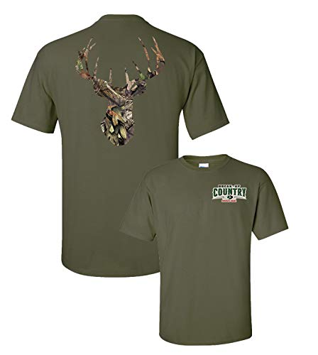 Mossy Oak Camouflage Deer Head Men's Hunting T-Shirt-Military ()