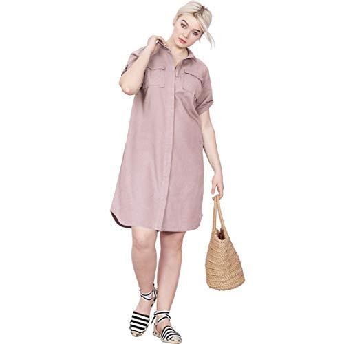 Ellos Women's Plus Size Button Front Linen Shirtdress - Vintage Lilac, 20 ()