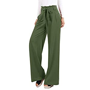 Lynwitkui Womens Palazzo High Waisted Pants Casual Belted Paper Bag Trouser with Pockets