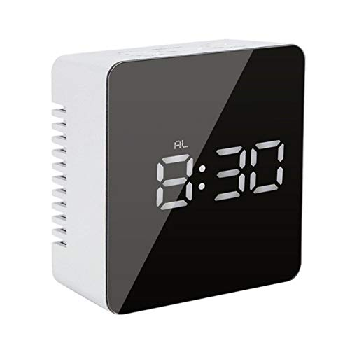 US Warehouse - Alarm Clock Digital LED Clock Snooze Function Mirror Clock Indoor Thermometer Electronic Desktop Fashion Table Clocks - (Color: B)