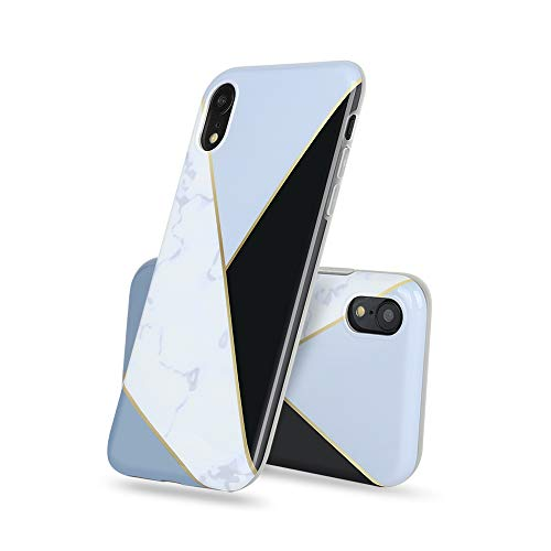 iPhoneXR Case,Gooyu Marble Design Clear Bumper Glossy TPU Soft Rubber Silicone Cover Phone Case for iPhoneXR(Black+Bule )