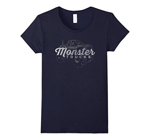 Women's Monster Trucks Vintage Retro Big Truck Lover T-Shirt Large Navy