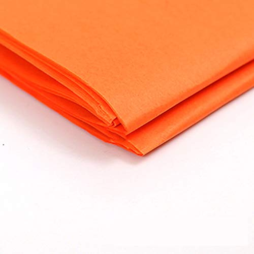 Glumes 50pcs Premium Quality Tissue Gift Wrapping Paper Crafts, Packing and More, 20 x 26 inches for Art Craft Floral Birthday Party Festival Gift Wrapping Decorative Tissue Paper Pom Pom - Orange]()