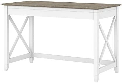 Bush Furniture Key West Writing Desk, 48W, Pure White and Shiplap Gray