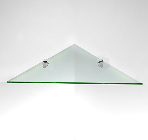 Fab Glass and Mirror Corner Glass Shelf Kit with Triangle Chrome Brackets, 14