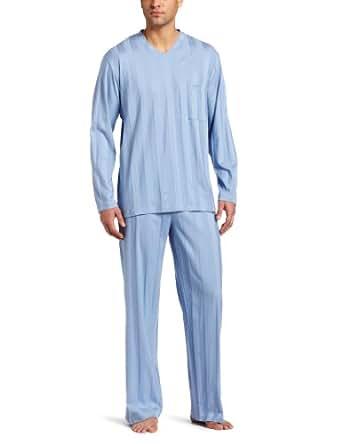 Hanro Men's Turin Long Sleeve Pajama Set, Pearl Blue, Small
