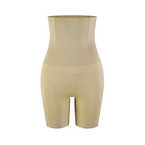 Amazingjoys Womens Hi-Waist Body Shaper Tummy Control Panty Smooth Thigh Slimmer, Beige, Fits US SIZE 12-16