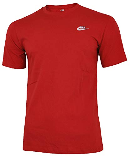 NIKE Mens Club Embroidered Futura T-Shirt Sport Red/White 827021-611 Size Medium