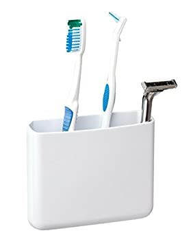 mDesign AFFIXX Porta cepillos de dientes autoadhesivo - Práctico soporte para cepillo de dientes - Caja organizadora para cepillos de dientes y dentífrico ...
