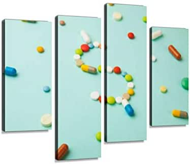 Symbol of Money Dollar from Pills Capsules Medicine and Medical Insurance Canvas Wall Art Hanging Paintings Modern Artwork Abstract Picture Prints Home Decoration Gift Unique Designed Framed 4 Panel