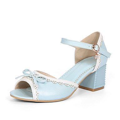 LvYuan Mujer Sandalias Semicuero Verano Pajarita Tacón Robusto Blanco Azul Rosa 5 - 7 cms Blue