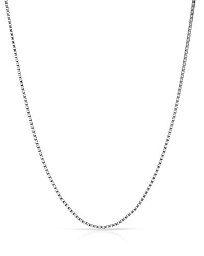14K Yellow or White or Rose/Pink Gold 0.60mm Shiny Classic Box Chain with Spring Ring Clasp (13