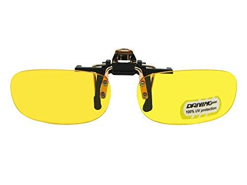 Skinny Curve Rectangle Non Polarized Yellow Flip Up Sunglasses (Gold/Black Flip-NON Pol Yellow Lens, 60mm Width x 35mm - Attachment Flip Sunglasses Up