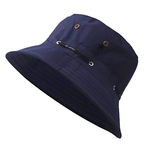 OSTELY Fisherman Hat Men and Women Outdoor Travel UPF 50+ Foldable Wide Brim Floppy Sun Hat(Navy)