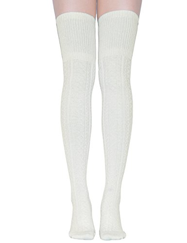 (TooPhoto Womens Thigh High Socks Over Knee Stockings Rainbow Stripes Colorful A 1 Pair-[Lengthen Style]Milk)
