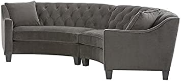 Amazon Com Home Decorators Collection Riemann Curved Tufted Sectional 2 Piece Msuede Smoke Furniture Decor