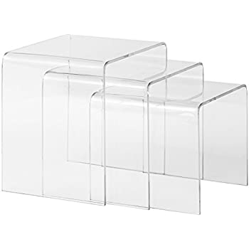 Amazoncom Baxton Studio Acrylic Nesting Tables Clear Kitchen - Clear nesting tables