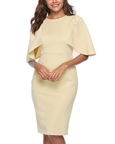 Closhion Business Dresses for Women, Women's Elegant Round Neck Cape Sleeve Office Dresses A Line Bodycon Sheath Pencil Dress Beige S ()