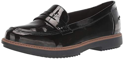 CLARKS Women's Raisie Eletta Shoe, Black Synthetic