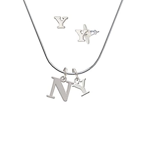 durable service large greek letter nu y initial charm necklace and stud earrings