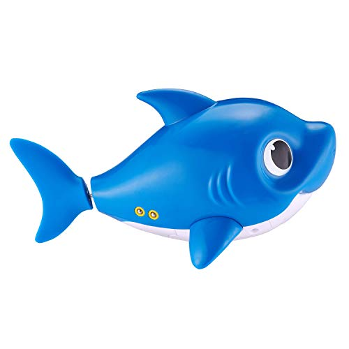 31Xl1SeW7iL - Robo Alive Junior Baby Shark Battery-Powered Sing and Swim Bath Toy by ZURU - Daddy Shark (Blue)