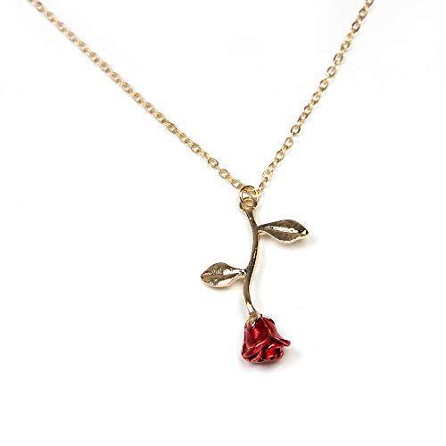Arget's Exclusive Flower Necklace Gold Touch Rose with 2 Leafs, Made with Original for All Ages for Women and Girls.