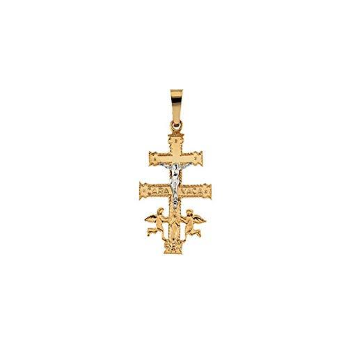 (14K Yellow Gold & White Gold 25x16mm Cara Vaca Crucifix Pendant )